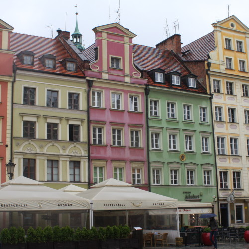 Reconstructed buildings in Wrocław